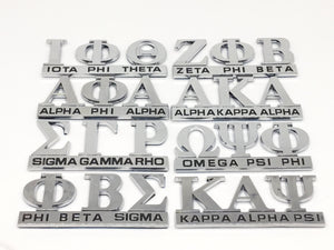 Chrome Greek Letters Car Decals