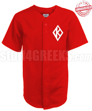 Kappa Alpha Psi Cloth Baseball Jersey with K-Diamond Icon, Red (TW)- Embroidered with Lifetime Guarantee