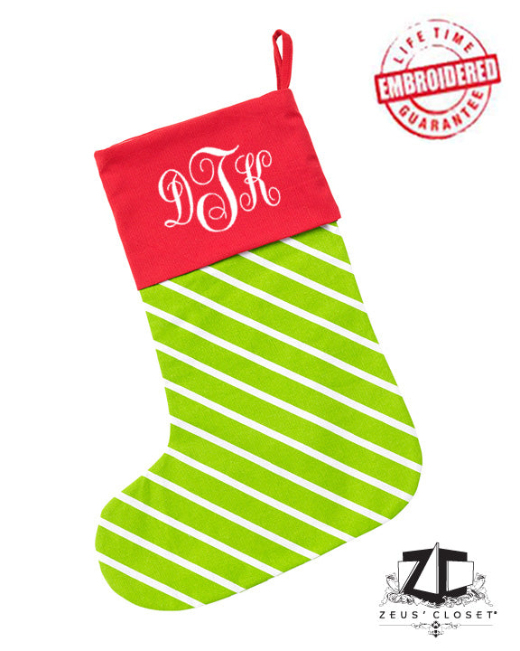 "Custom Embroidered ""Merry and Bright"" Christmas Stocking"