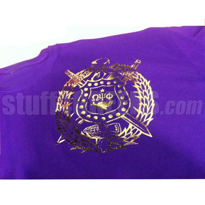 Metallic Foil T-Shirt with your Fraternity or Sorority Crest