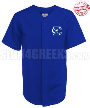 Phi Beta Sigma Cloth Baseball Jersey with Crescent Moon and Stars Icon, Royal Blue (TW)- Embroidered with Lifetime Guarantee