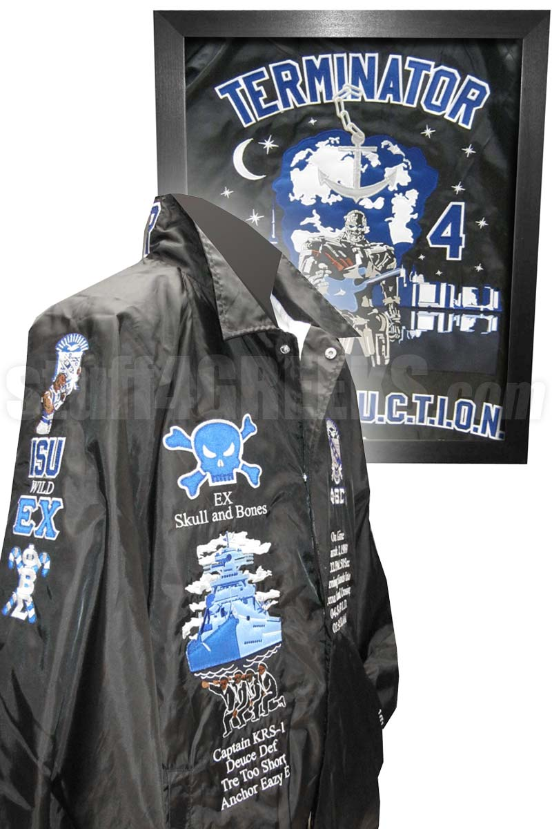 The Platinum Crossing Jacket: Includes Letters, Sleeves, Collar, Back, Artwork on Back, Digitizing, Unlimited Icons and Monograms, Matching T-Shirt, Matching Frame, Garment Bag, Rush Production and More