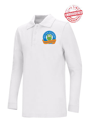 Unisex Youth/Adult Long Sleeve Pique Polo with Embroidered BA Logo