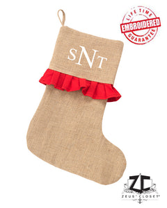 "Custom Embroidered ""Red Ruffle"" Christmas Stocking"