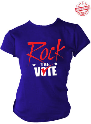 Rock The Vote Election T-Shirt, Royal Blue, Red, & White – EMBROIDERED with Lifetime Guarantee