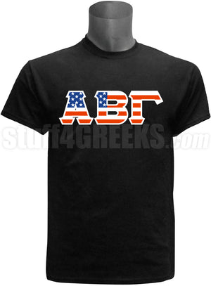 American Flag Greek Letter Screen Printed T-Shirt