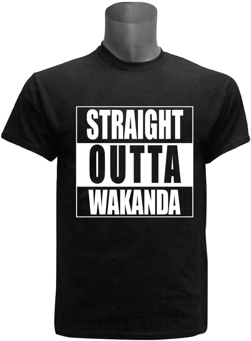 "Black Panther Inspired ""Straight Outta"" Screen Printed T-Shirt, Black"