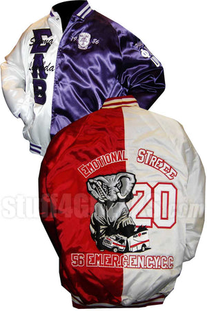 Custom Two-Tone Satin Baseball Jacket