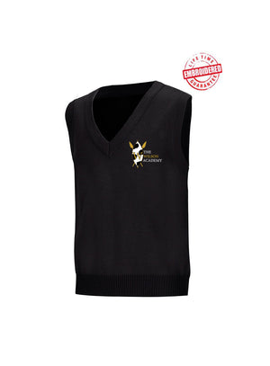 Unisex V-Neck Sweater Vest with Embroidered The Wilson Academy Logo, Black