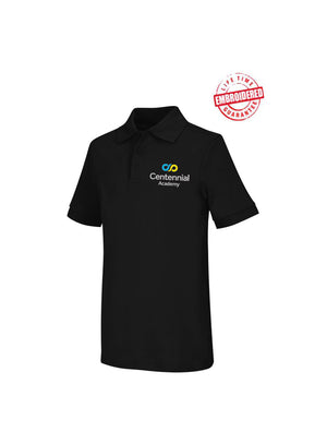 Girls Short Sleeve Interlock Polo with Embroidered Centennial Academy Logo