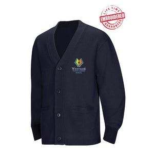 Unisex Cardigan Sweater with Embroidered WACS Logo, Navy