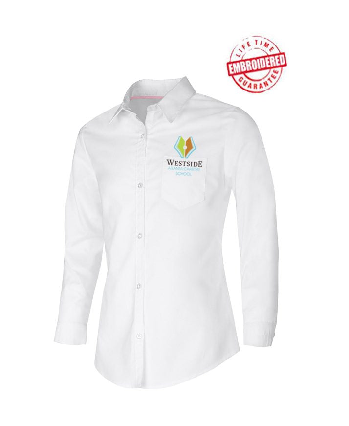 Girls/Junior Long Sleeve Oxford Shirt with Embroidered WACS Academy Logo