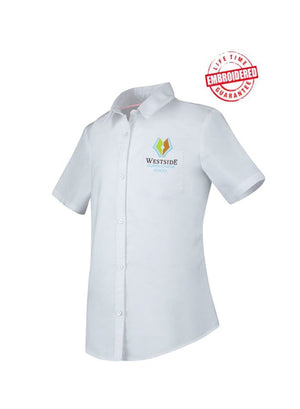 WACS Girls Short Sleeve Oxford Sizing Chart Sizing Chart Girls/Junior Short Sleeve Oxford Shirt with Embroidered WACS Academy Logo, White