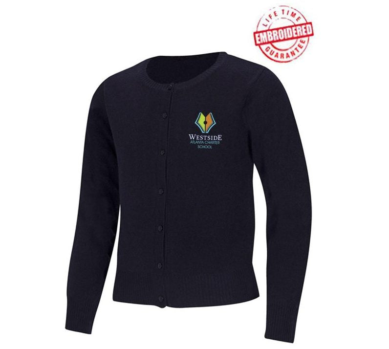 Jewel Neck Cardigan Sweater with Embroidered WACS Logo, Navy