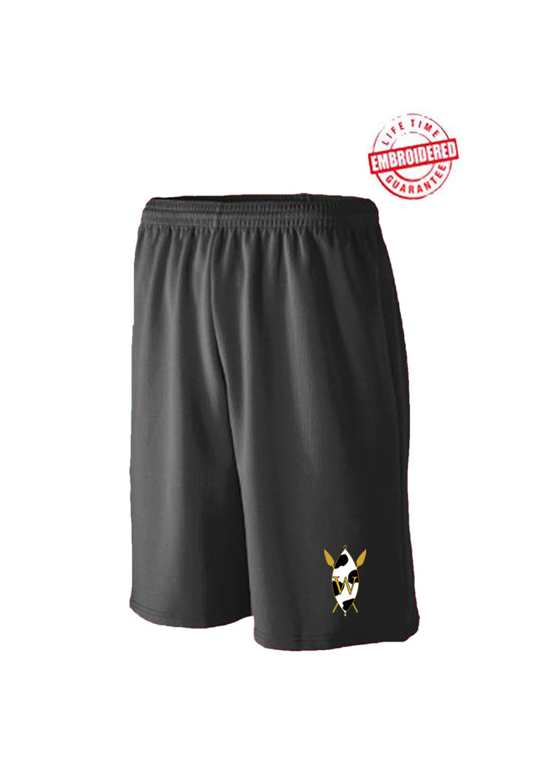 Mesh Athletic Shorts with Embroidered The Wilson Academy Icon, Black
