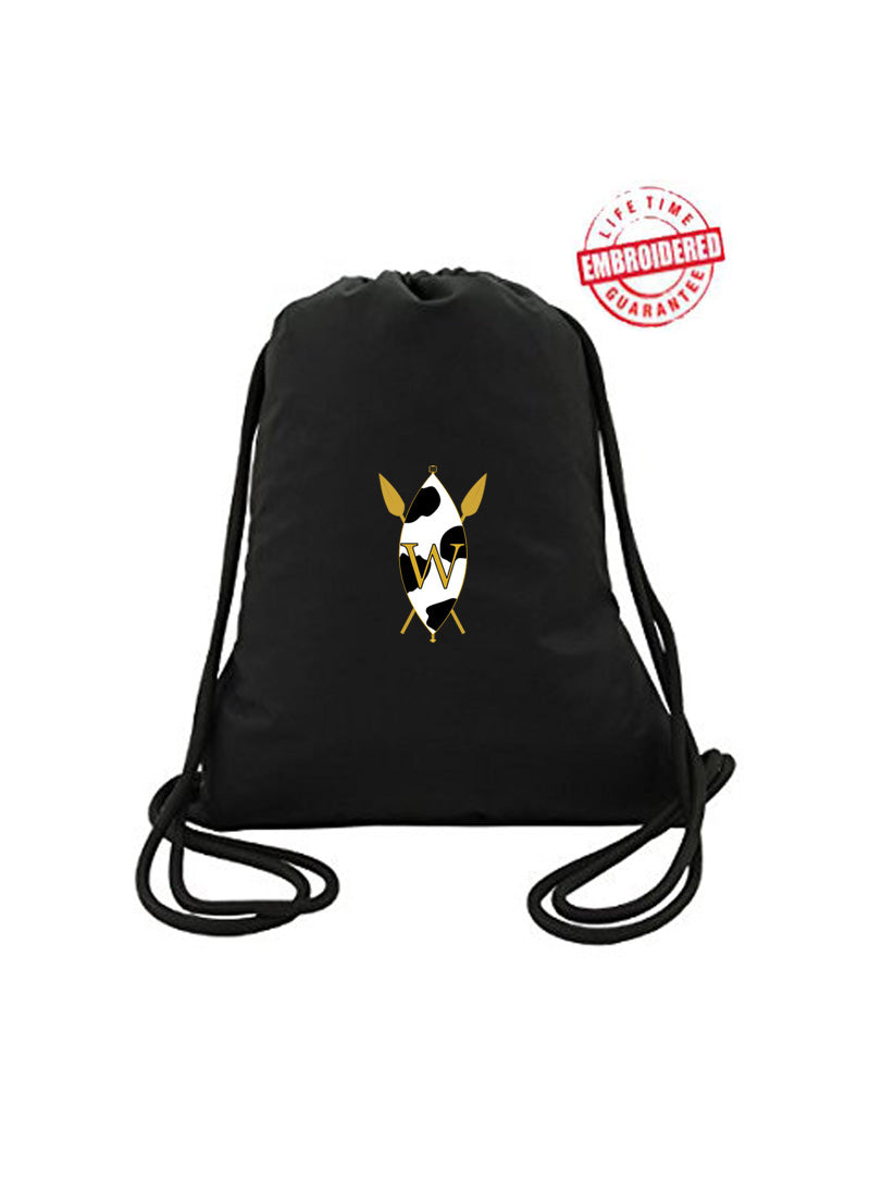 Drawstring Tote Bag with Embroidered The Wilson Academy Icon, Black