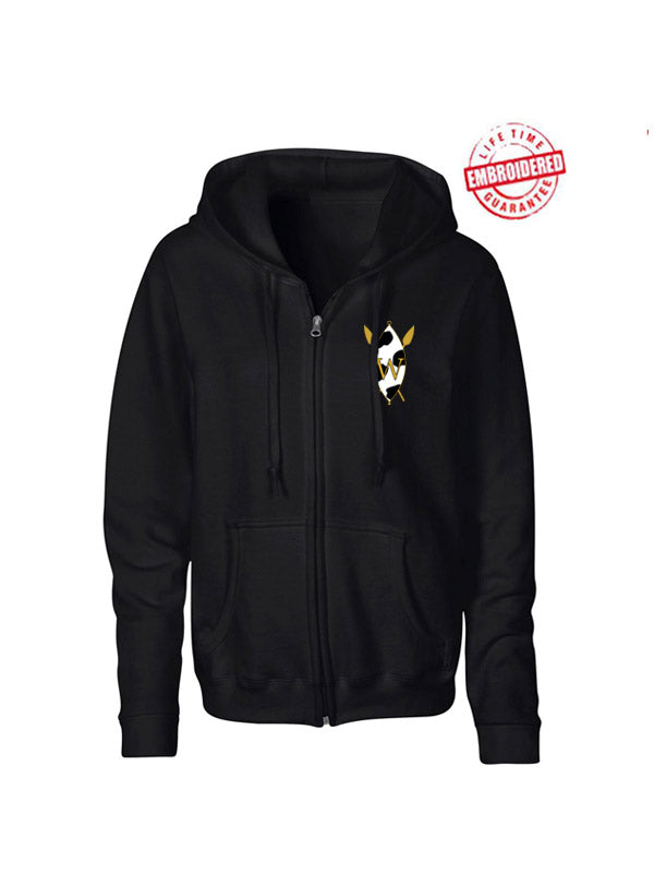 Zip-Front Hoodie with Embroidered The Wilson Academy Icon, Black
