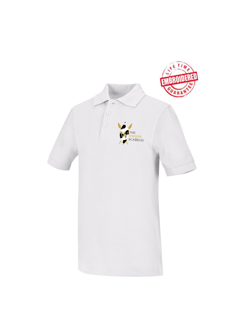 The Wilson Academy Polo Shirt Sizing Chart Sizing Chart Unisex Short Sleeve Interlock Polo with Embroidered The Wilson Academy Logo, White