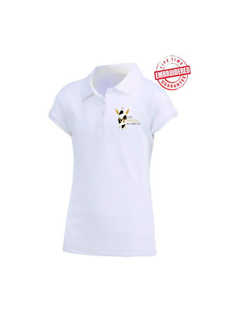 Girls Short Sleeve Fitted Interlock Polo with Embroidered The Wilson Academy Logo, White