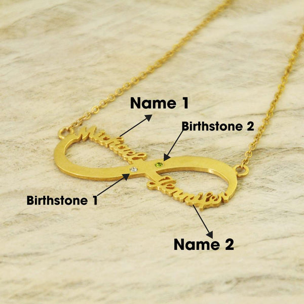 Personalized Necklace Two Name & Birthstone