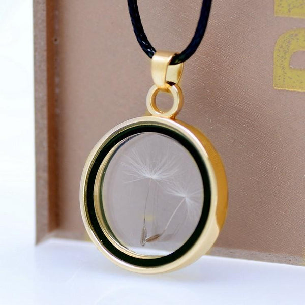 Real Dandelions Seed Floating Locket Glass Pendant Necklace