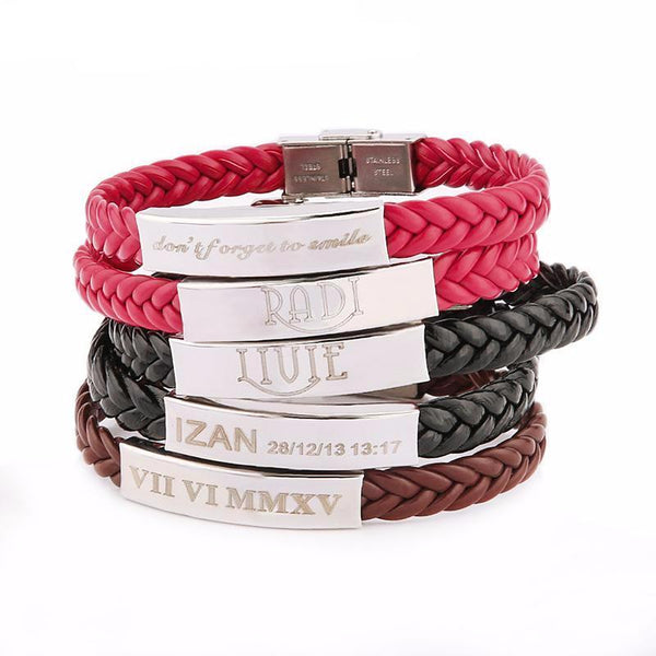 Leather Stainless Steel Bracelet Personalized