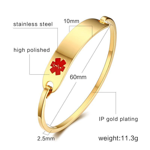 Engraving Medical Alert Bracelet Non Allergenic Surgical Steel ID Cuff Bangle Bracelets for Women