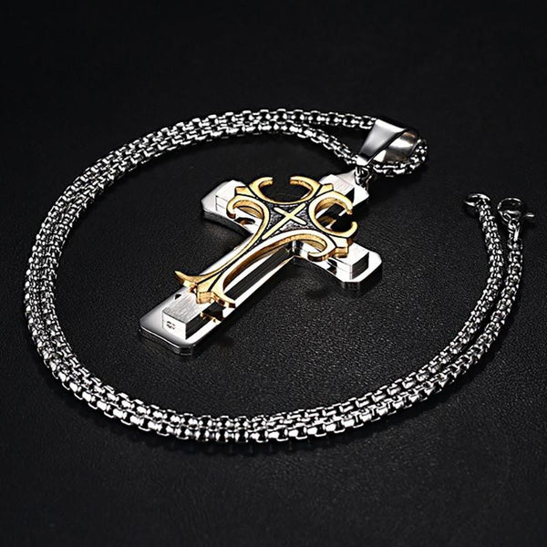 "Men's Stainless Steel Large Fleur-de-lis Cross 3-Tone Pendant Necklace 24"" Chain"