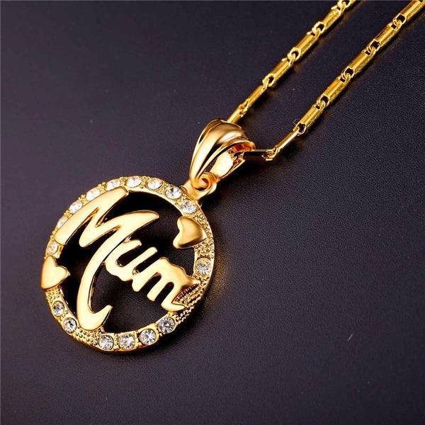 Mothers Day Gifts For Mom Necklace & Pendant Round Rhinestone Crystal