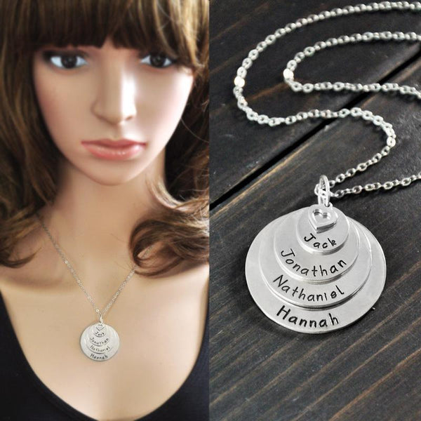 Personalized Stack Disc Name Necklace