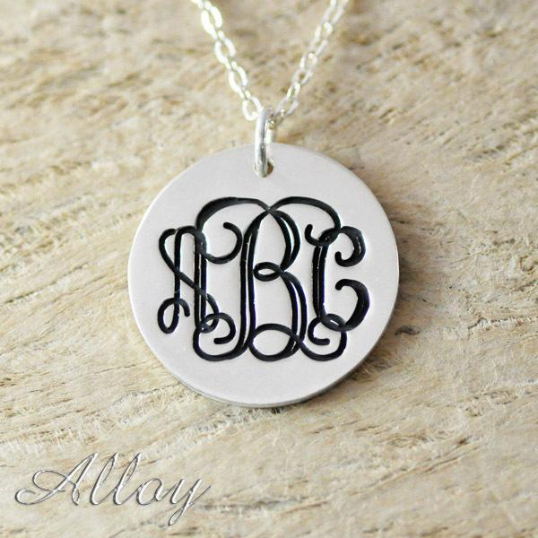 Circle Monogram Alloy Necklace