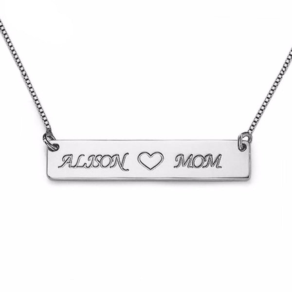 Custom Engrave Name Bar Necklace Personalized Name Plate Love Necklace