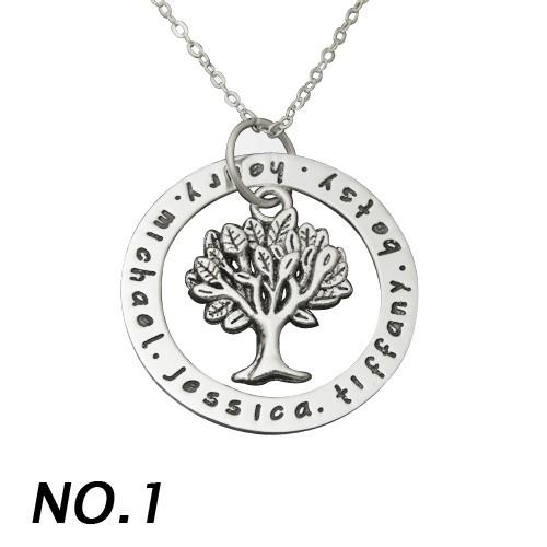 Custom Alloy Name Necklace Family Tree Pendent Engrave Name Necklace