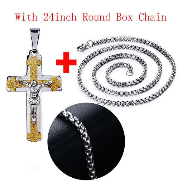 Men's Jesus Cross Necklace Pendant 316l Stainless Steel Metal