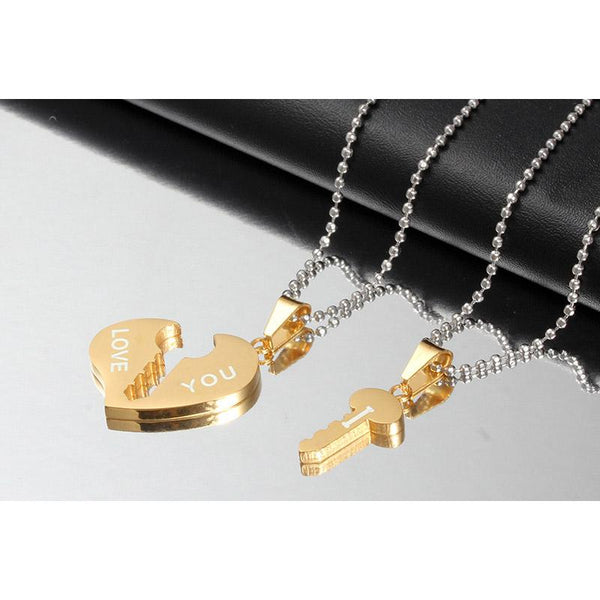 Key and Heart Necklace Sets Couple His & Hers Promise Stainless Steel Jewelry