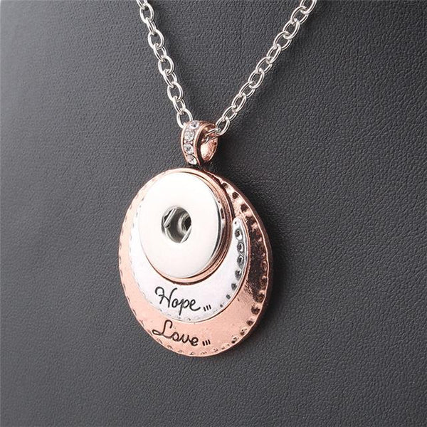 2 Colors Fashion Beauty  pendant Hope&Love Snap necklace