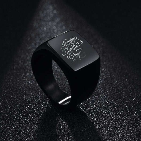 Stainless Steel Ring Engraved the Photo and Name