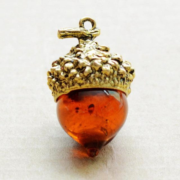 Pendant Antique Bronze Water Drop Glass Acorn Oak Pendant Necklace
