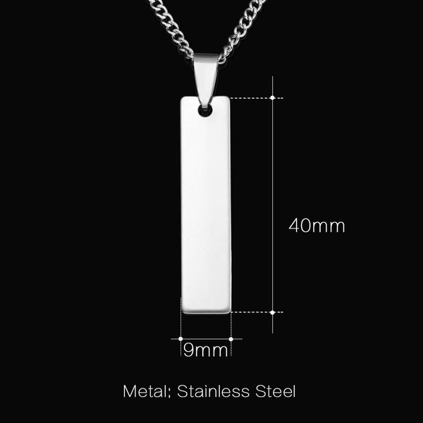 Custom Laser Engraved Name Bar Necklace Stainless Steel Personalized Necklace & Pendants