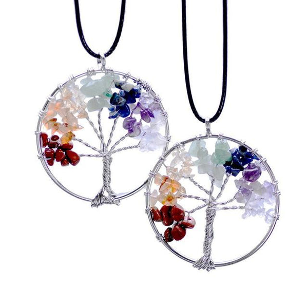 Rainbow 7 Chakra Tree Of Life Quartz Pendant Necklace