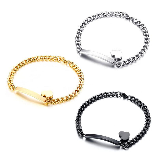Trendy ID Heart Bracelet Bangle Stainless Steel