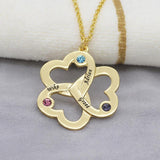 Personalized Triple Heart Necklace with Birthstones - Metals Type Zinc Alloy