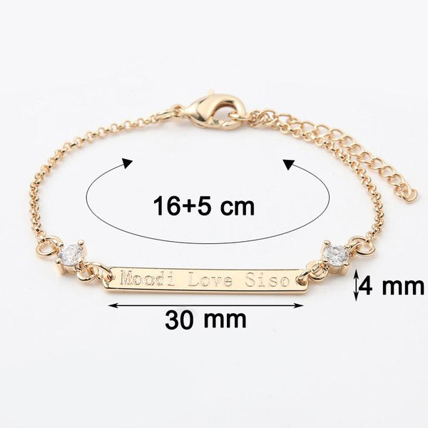 Crystal 30*4 mm Bar Bracelet Engraved Personalized