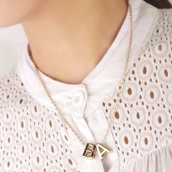 Women's Metal Alloy DIY Letter Name Initial Link Chain Charm Pendant Necklace