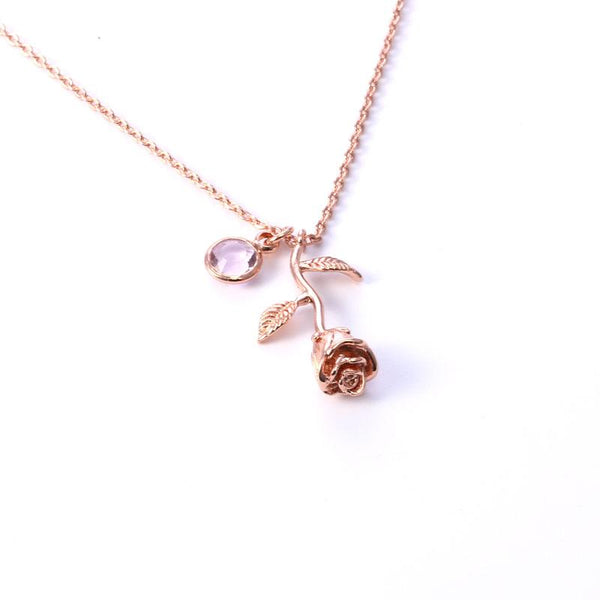 3d Rose Necklace Gold Color Personalized Custom Birthstone Charm Necklace