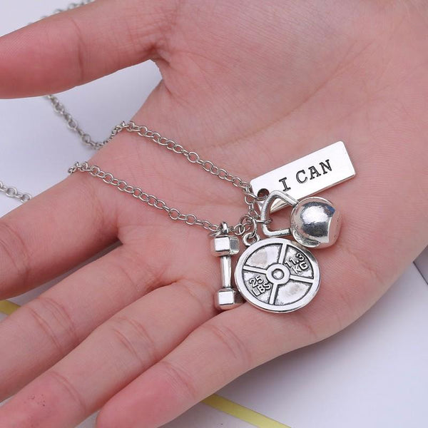 Men's dumbbell necklaces letter I can sports