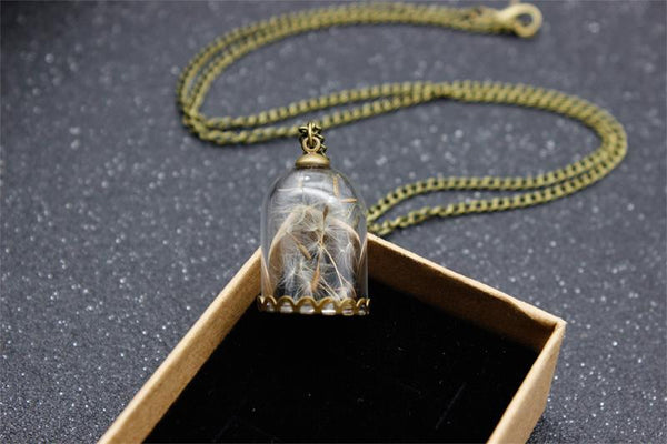 Glass Bottle Wishing Bottle Necklace Jewelry Romantic Dandelion