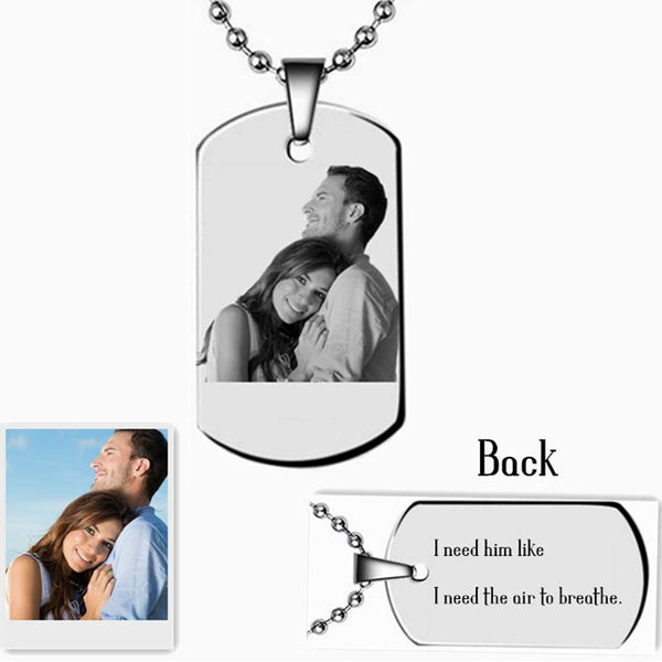 Personalized Photo Tag Necklace Custom Back Engraving Pendant Necklace