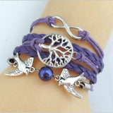 Free Bracelets - Fashion Cute Unique Silver Plated DIY Infinity Birds Tree Leather Cute Charm Bracelet
