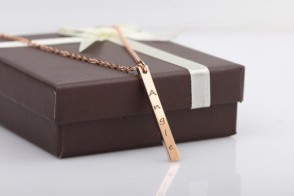 Rose Gold Color Name Date Bar Necklace Engraved Statement Personalized Necklaces & Pendants